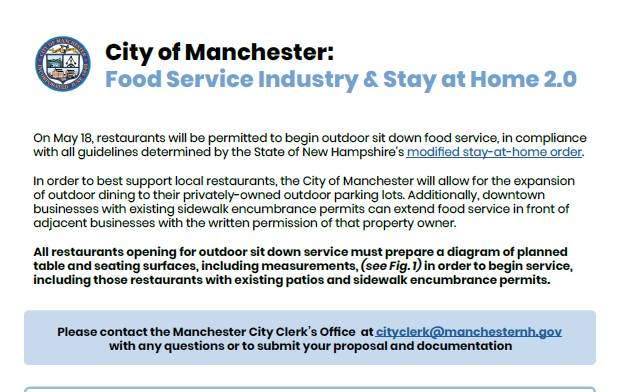 Contact the City Clerk to submit proposals for outdoor dining.