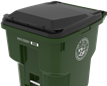 image of green trash cart