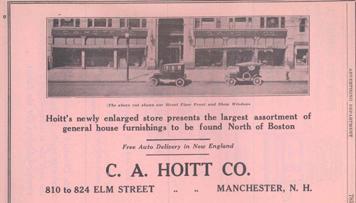 1923 Advertisement for C.A. Hoitt Company Furniture