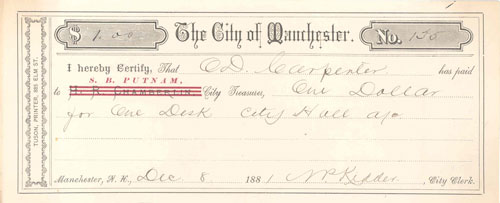 Receipt for City Hall Desk 1881