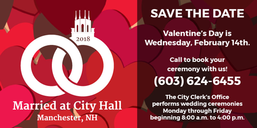 Get Married at City Hall on Valentine's Day. Wednesday, February 14th
