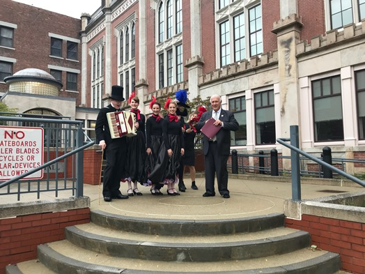 Mayor with Can-Can dancers proclaiming Toulouse-Lautrec Day