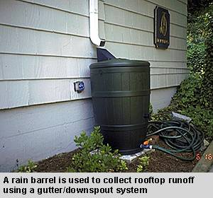 a rain barrel is used to collect rooftop runoff using a gutter/downspout system.