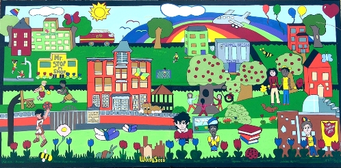 PICTURE INFO: Mural commissioned by City of Manchester Planning and Community Development Department; Artist Rick Freed, Muralworkz and children from the Kids Café. Currently displayed at The Salvation Army, 121 Cedar Street, Manchester, NH.