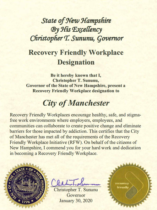 Governor Sununu's Recovery Friendly Workplace Designation for Manchester, NH