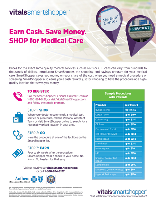 Vitals Smart Shopper Flyer. Earn Cash. Save Money. SHOP for Medical Care