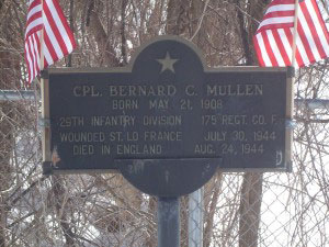 Bernard C. Mullen recognition plaque