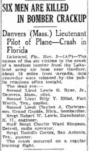 Newspaper article–Wednesday, November 4, 1942
