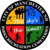 City of Manchester Parks, Recreation & Cemetery logo.  The sky's the limit!