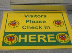 Visitors Please Check In Sign