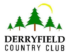 Derryfield Country Club logo: five pine trees with overlooking sun